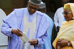 Image result for buhari and wife at the poll